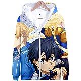 HXPainting Unisex Sudadera con Capucha Impreso 3D Anime Sword Art Online Kirigaya Kazuto Hoodie Cremallera Manga Larga Pullov