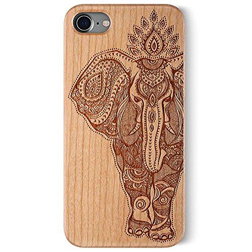 Coque Apple iPhone 7 , Coque pour iPhone 7 Bois Véritable + PC Bumper Dur Hard Housse Etui Hybride en Bois Naturel Sculpté Wood Case Cover de Protection pour iPhone 7 Cherry-Elephant