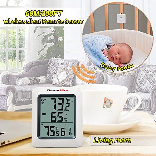 Thermopro TP60 Funk Thermo Hygrometer, Klima-Monitor mit Funk-Außensensor - 3