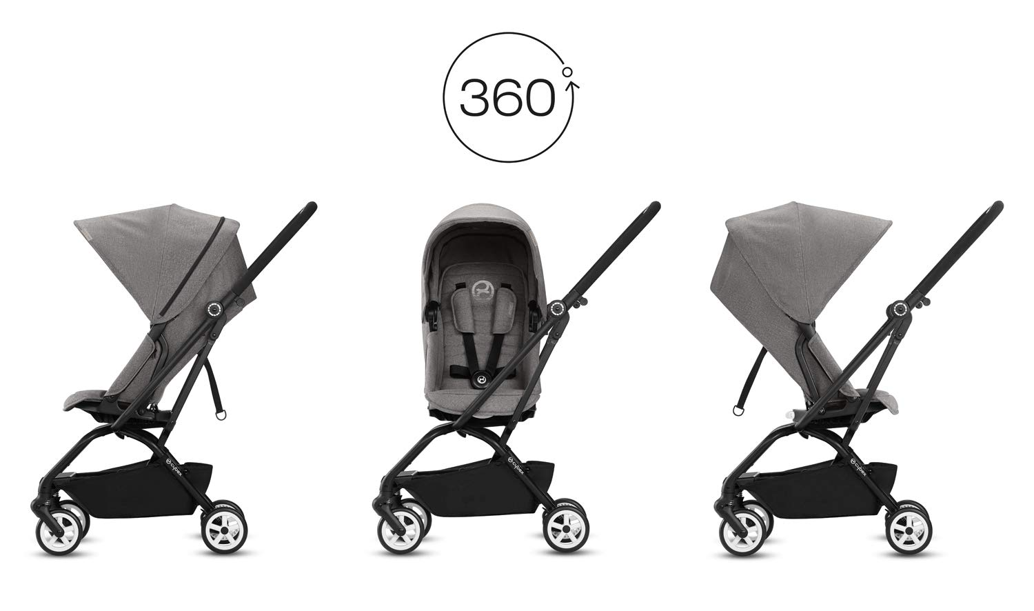 CYBEX Gold Eezy S Twist Compact Pushchair, 360° Rotatable Seat Unit, Ultra-Compact, From Birth to 17 kg (approx. 4 years), Lavastone Black  Sturdy, High-quality Compact Pushchair for newborns up to approx. 17 kg (approx. 4 years) with unique rotatable seat unit - Including rain cover for optimum use in all weather conditions Quick and easy change of direction with 360° rotatable seat unit, Comfortable sitting position thanks to stepless adjustable reclining backrest with lie-flat position, Puncture proof tyres and all-terrain wheel suspension Simple folding with one-hand folding mechanism for compact travel size (LxWxH: 26 x 45 x 56 cm), Extremely manoeuvrable due to narrow wheelbase, Can also be used as 3-in-1 travel system with separately available CYBEX and gb infant carriers and the baby cocoon S (sold separately) 2