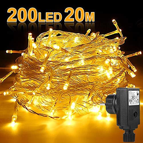200 LED Lichterkette, Molbory 20M Lange Warmweiß Lichterkette 8 Modi Dimmbar Steckdose mit EU Stecker IP44 Wasserdicht für Innen und Außen für Party, Feier, Hochzeit, Weihnachtsbeleuchtung
