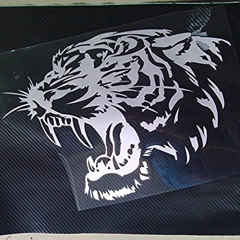 Eaglerich 28 * 28cm autoadesivo riflettente dell'automobile decalcomanie della testa della tigre cofano del Motociclo E laterali Adesivi auto Steller Nero Bianco Giallo
