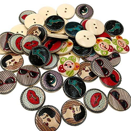 50 x Retro-Stil 2 Löcher gemischte Holzknöpfe Nähen Basteln Kleidung DIY Scrapbooking Rycnet, holz, Fashionable Accessary