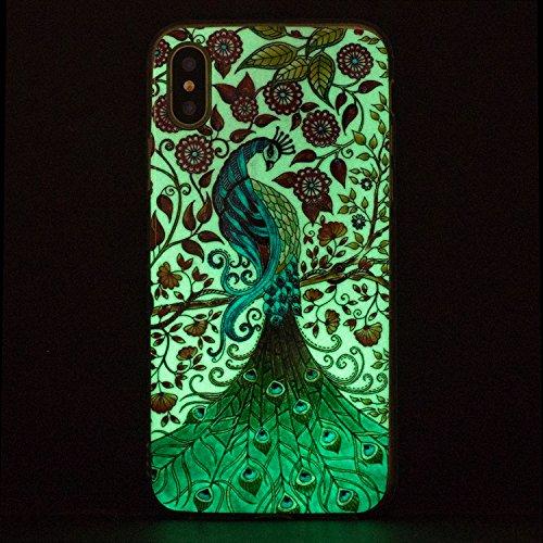 Cover iphone X Custodia iphone X / 10 Silicone Anfire Morbido Flessibile Gel TPU Case per apple iphone X (5.8 pollici) Ultra Sottile Fluorescente Shell Antiurto Luminosa al Buio Copertura LED Lampeggi Pavone