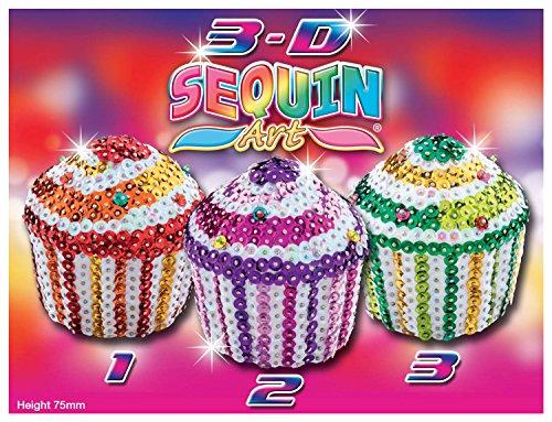 Sequin Art 3 Paillettenformen, Cupcakes, Steckform, Bastelset mit 3 Styropor-Formen, Pailletten, Steckstiften und Anleitung, für Kinder ab 8 Jahre ()