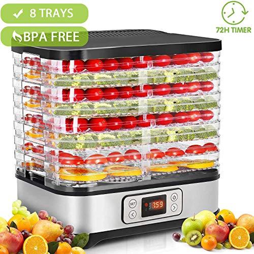 Hopekings Deshidratador de Alimentos 8 Pisos, Deshidratador de Frutas y Verduras 400W con Temporizador hasta 72h