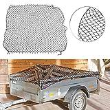 Lescars Reißfeste Anhängernetze: Anhänger-Gepäcknetz mit umlaufendem Gummiseil, 125 x 210 cm (Containernetz für Auto-Anhänger)