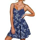 FANCYINN Damen Kleider mit V-Ausschnitt und Spaghettiträger Rückenfreies ärmelloses Blumenkleid Rüschen Loose Swing Freizeitk