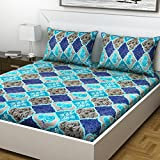 Indiana Home 100% Cotton Double Bed Sheet With 2 Pillow Cover| Blue | Floral