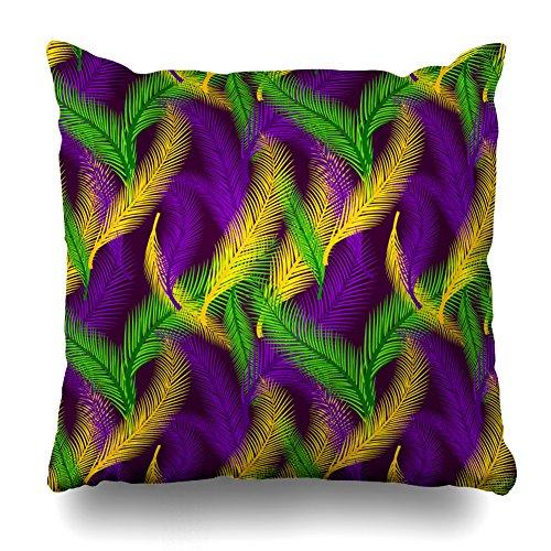 KJONG Nature von Palmen Farbe des Mardi Gras Reißverschluss Kissenbezug, 45,7x 45,7cm Quadratisch Dekorativer Überwurf-Kissenbezug Fashion Style Kissen (Zwei Seiten Print) 16X16 Aztec