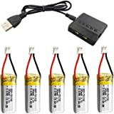 CUHAWUDBA Batería de 5 Piezas 3.7V 180 MAh con Cargador 5 en 1 para RC Drone A20 A20W Repuestos Lipo Batería RC Parts Drone A