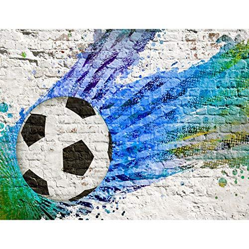 (Fototapete Fussball Vlies Wand Tapete Wohnzimmer Schlafzimmer Büro Flur Dekoration Wandbilder XXL Moderne Wanddeko - 100% MADE IN GERMANY - Steinwand Grafitti Blau Türkis Runa Tapeten 9021010a)