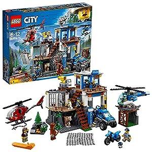 LEGO City Police - Montaña: Comisaria Policía, Set de Construcción de Juguete de Policía con Helicópteros, Coche y Moto de Policía y Minifiguras (60174)