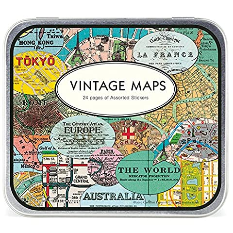 Cavallini - Tin of Decorative Stickers - Vintage Maps - 100+ Assorted Stickers