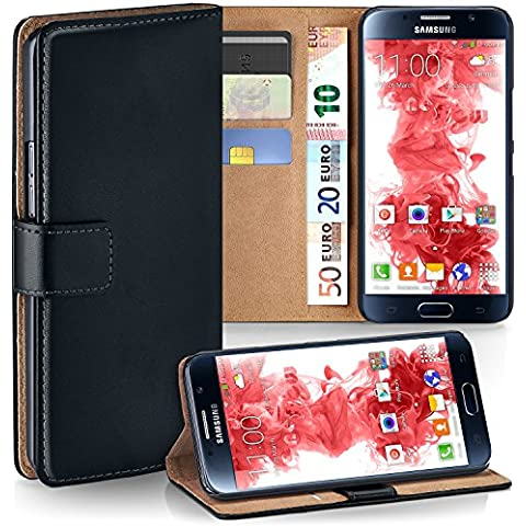 Bolso OneFlow para funda Samsung Galaxy S6 Cubierta con tarjetero | Estuche Flip Case Funda móvil plegable | Bolso móvil funda protectora accesorios móvil protección paragolpes en Nero