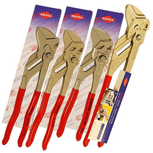 Preisvergleich Produktbild KNIPEX 8603 Wasserpumpenzange Zangenschlüssel Sanitär Rohrzange Set 4 tlg XL Wasserpumpen Zange 180, 250, 300, 400 mm Schlüssel 86 03 180 / 250 / 300 / 400 Klempner 180 - 400 mm