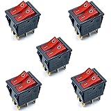 Oiyagai - Interruptor basculante para Barco (5 Piezas, KCD4 AC 250 V, 16 A, luz roja, 6 terminales, Encendido/Apagado, Doble