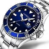 Uhren für Männer Wasserdicht Männer Edelstahl Business Armbanduhr Mann Runde Uhr Militär-Edelstahl-Datums-Sport-Quarz-analoge Armbanduhr (Blau)