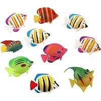 Ararat Artificial Decorative Plastic Floating Moving Fishes Aquarium Tank Ornament Random Color and Pattern (Pack of 10)