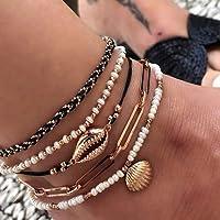 Sethain Boho Perline calzerotto Oro Layered Conchiglia Caviglia Bracciali Spiaggia Pendente Piede Gioielleria per donne…