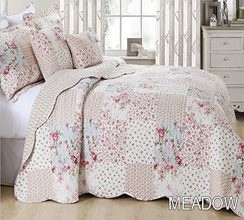 THL Tagesdecke 3PCS Bett Überwurf Quilt mit 2kissenrollen, Baumwolle, Multi, Super King 255x275