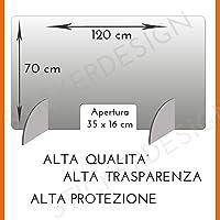 Generico Barriera Protettiva separatore da scrivania in plexiglass Trasparente PDS 60x50 cm Divisorio per Ufficio parasputi parafiato