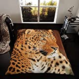 "Faux Fur Throw Double 3D Animal Blanket Print Mink Sofa Bed Large Soft Fleece (150CM X 200CM (59""x79"") Approx, Leopard)"