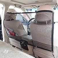 Candora - Barrera de seguridad de coche para mascota –Red de seguridad para coche que funciona como puerta trasera para transportar perros, 115cm x 62cm