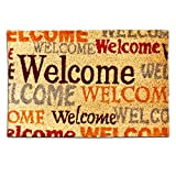 Relaxdays 10016765 Kokosmatte Typografie Welcome robust 40 x 60 cm