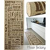 Alfombra de cocina Coffee Time beige 80x200 cm - alfombrilla económica para cocinas