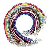 72 Piezas Cordón de Ante Sintético Cuerda de Collar de Cuero de Imitación con Broche de Langosta Cadena Extendida para Manualidades y Fabricación de Bisuteria, 12 Colores