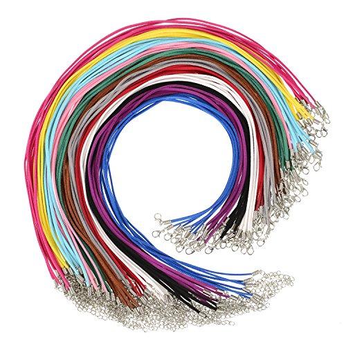 eder Schnur Synthetisch Leder Halskette Schnüre Kette mit Karabinerverschluss Verlängerungskette für DIY Schmuckherstellung, 12 Farben ()