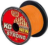 WFT KG STRONG 600m 0,22mm 32kg, geflochtene Schnur, Meeresschnur, Angelschnur, Geflechtschnur, Farbe:Orange