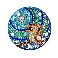 Prosperveil DIY 5D Diamond Painting Cute Owl Kits with Warm White LED Lights Kids Bedroom Night Light Table Lamp Battery Operated for Children Baby Room Lighting Decor