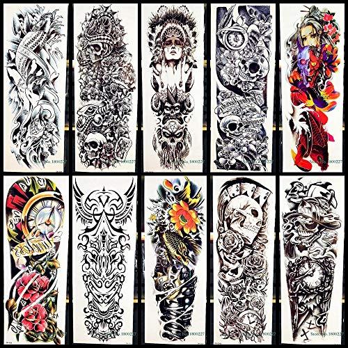 Totem braccio completo body art tatuaggi temporanei adesivo tribale teschio guerriero totem per uomo donna finta macchina pesce adesivi tatuaggi impermeabili