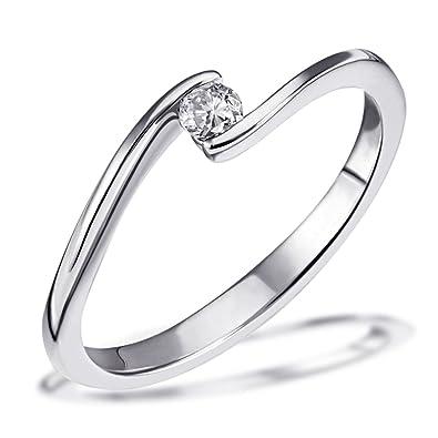 Diamantring weißgold 1 karat  Goldmaid Damen-Ring Solitär Verlobungsring 585 Weißgold 1 Brillant ...