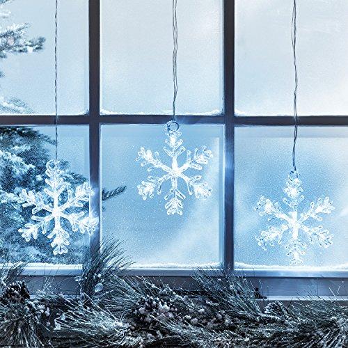 Lights4fun Décoration Lumineuse LED Flocons de Neige à Suspendre aux Fenêtres à Piles