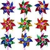 Molinillos de Viento de Arco Iris de Plástico, Molinillos de Viento de Fiesta Molino de Viento de Arco Iris de DIY Juego para Juguetes de Niños Decoración de Jardín, 36 Piezas (18 cm, Multicolor B)