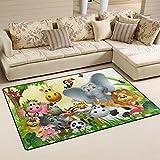 Bennigiry Cartoon-Dschungel-Tier Bereich Teppich Super Soft Polyester Große Rutschfeste Modern Bad-Teppiche für Schlafzimmer Wohnzimmer Hall Abendessen Tisch Home Decor 78,7 x 50,8 cm, 31 x 20 inch Test