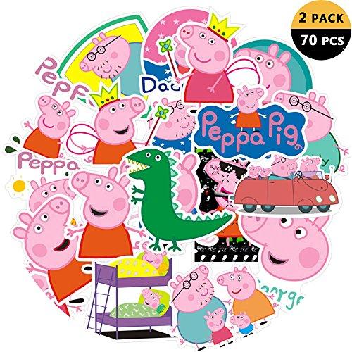 (DEBON Kofferanhänger Aufkleber Peppa Pig Sticker Label Autos PC IPAD Bumper Skateboard Helm Auto Bikes Fahrt Patches Truck Cartoon wasserdicht Removable Wall Decals Geschenk für Mädchen Frauen Kid)
