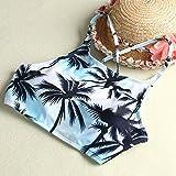 WDDBJN Bikini/Print Floral Palme Set Neckholder Crop Top Hang Hohe Hälse Set Push Up Bademode Frauen Badeanzug Strand BadeanzugM
