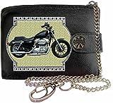 HARLEY DAVIDSON SPORTSTER Image sur portefeuille RFID pour hommes de marque KLASSEK vrai cuir avec chaîne Moto Bike cadeau d'accessoire avec boîte en métal produit HARLEY DAVIDSON Non officiel