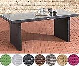 CLP Polyrattan-Gartentisch AVIGNON mit einer Tischplatte aus Glas I Wetterbeständiger Tisch mit sechs Sitzplätzen I In verschiedenen Farben erhältlich Schwarz