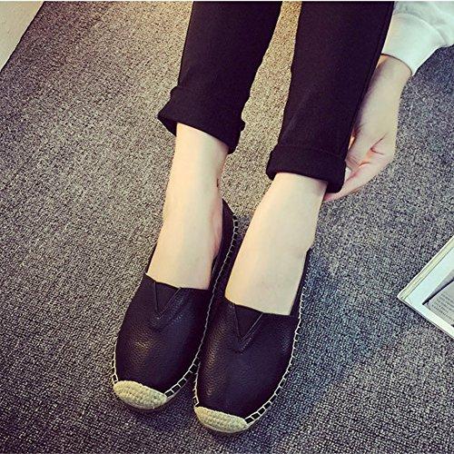 a-nam Damen Ballerinas Leinen Sohle v-upper Spitze bis Handschuh Schuhe Gummi rutschfesten Sohlen Flache Schuhe für Frühjahr und Herbst Schwarz