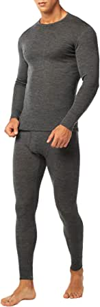 LAPASA Uomo Set Intimo Termico in Lana Merino di Alta qualità T-Shirt Maniche Lunghe & Pantaloni Invernali M31