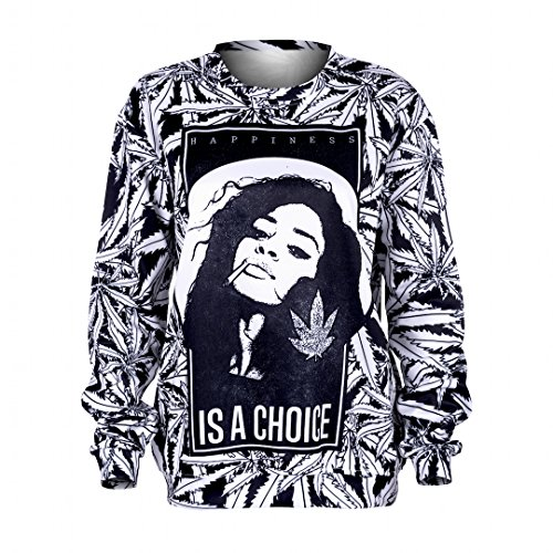 TRVPPY Damen Pullover Sweater mit All-Over Fullprint Modell Happiness - WEED is a choice Gr. S-XL