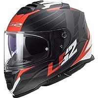 LS2 Casco moto FF800 STORM NERVE MATT BLACK RED, Nero/Rosso/Bianco, XS