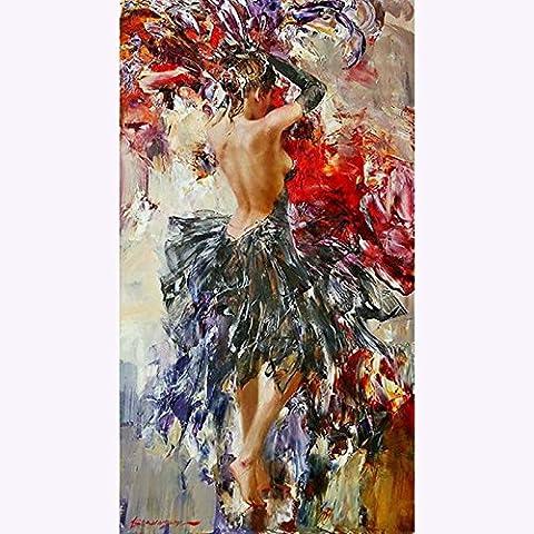 Handgefertigt Abstrakt hohe Fähigkeiten Künstler Pure spanischen Flamenco Dance Ist Kostüm Farbe Ölgemälde auf Leinwand Beautiful Wall Kunst für Wohnzimmer, canvas, (Künstler Kostüm-ideen)