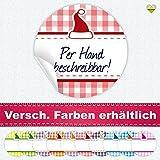 cute-head 24 Aufkleber/Etiketten / Sticker | Landhausstil Kariert Weihnachtsmütze | Rund | Ø 40 mm | Blanko | Hellrot/Rot | F00105-06