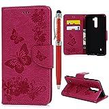 YOKIRIN LG Stylus 2 Flip Hülle LG Stylus 2 LS775 Wallet Case Stilvoll Kunstleder Brieftasche Handyhülle Schutzhülle Tasche Schmetterling Ledercase Karteninhaber Ständer Magnetverschluss Rose Rot